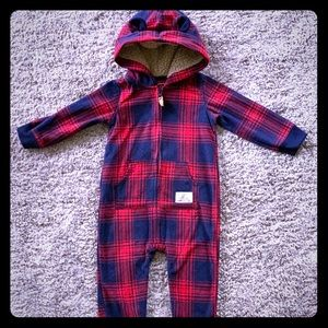 Carter's Red Tartan Cozy Winter Romper